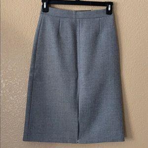 Heather Grey 100% Wool Pencil Skirt